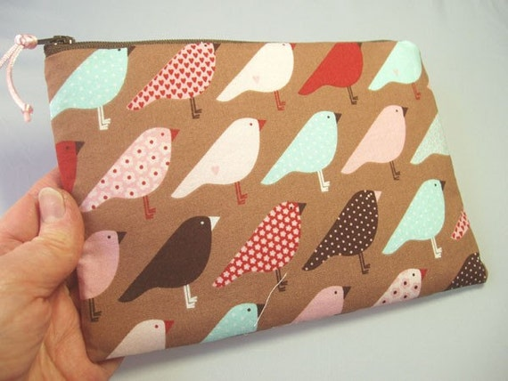 Padded Zipper Pouch in Love Nest Bird Print
