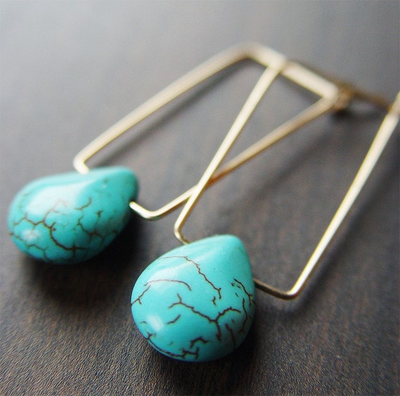 Rectangular Turquoise Earrings 14k Gold