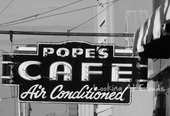vintage Pope's Cafe diner neon retro black and white photo 5 x 7
