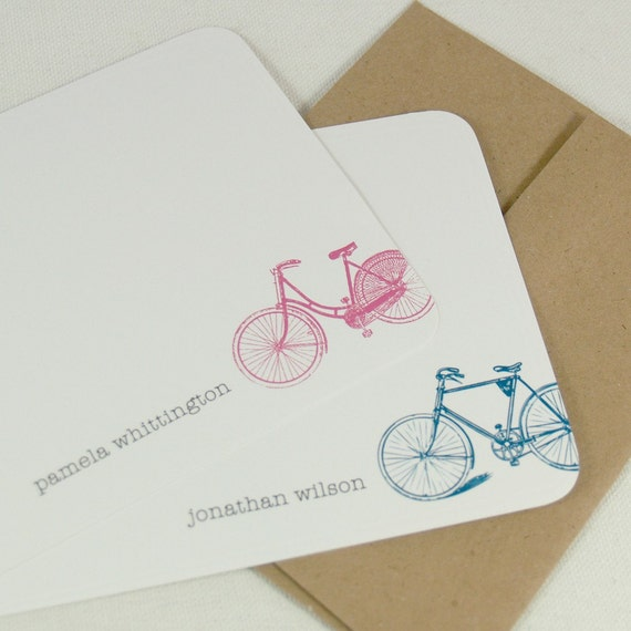 personalized stationery set flat note cards -vintage bike (12) CHOOSE color
