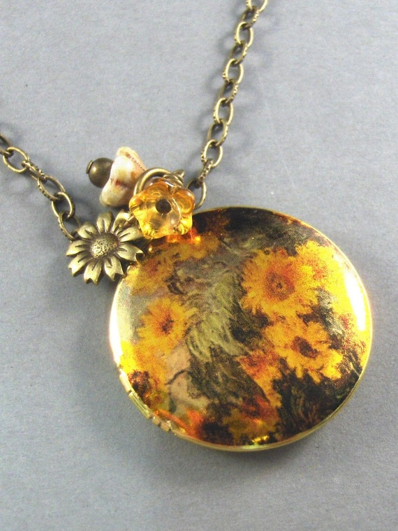 Sunflower,Brass Locket,Monet,Yellow,Green,Flower,Charm.  Handmade jewelery by Valleygirldesigns on Etsy.