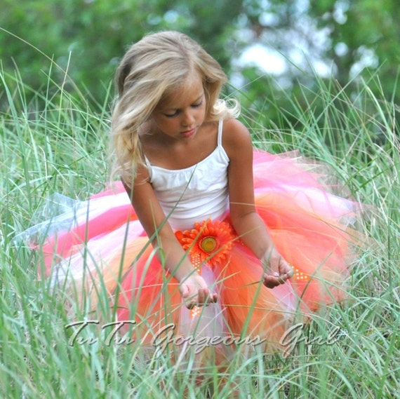 Orange & Yellow Summer Tutu...Birthday, Photo Prop, Flower Girl, Dance...12 Inch Length...Sizes 2T 3T 4T 5/6 7/8 . . . LITTLE MISS SUNSHINE