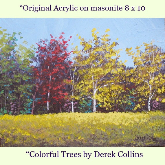 Original acrylic painting Fall Colors Autumn Tree sky Landscape impressionist 8X10 on Masonite