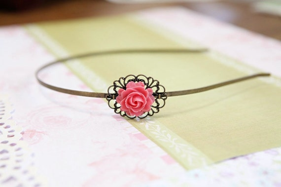 Vintage Flower Headband (dark pink)