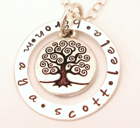 The FAMILY TREE of Life Story Necklace .... Sterling Silver Personalized Hand Stamped Pendant Charm Necklace Free Shipping