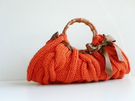 SALE OFF 15% Knitted Orange Handbag Number-0146