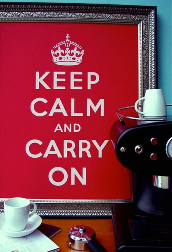 Keep Calm and Carry On poster - Recycled French Paper - POPtone Wild Cherry Red - Housewares - Handmade screenprint 16x20