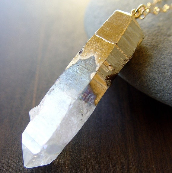 Vanilla Quartz Necklace Gold Dipped