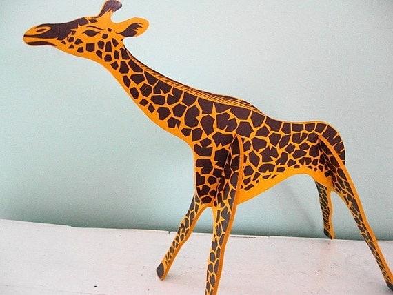 The Mighty Jungle... Vintage Wooden Giraffe Nursery Bedroom Decor