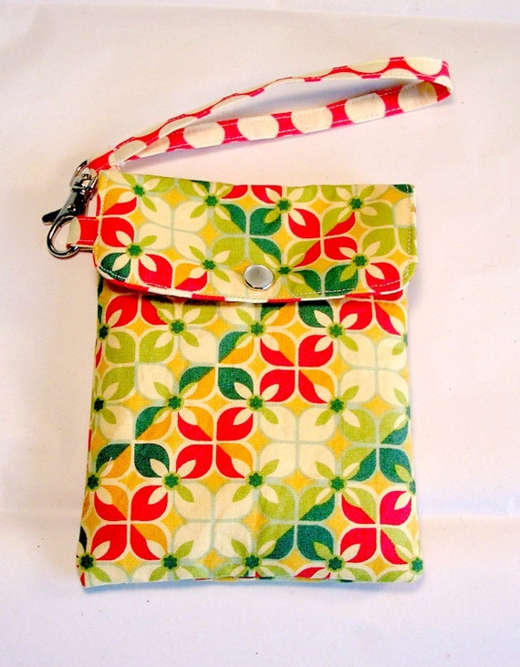 Cell phone holder, camera, ipod, blackberry Floral Geomeric and dots - Ready to Ship