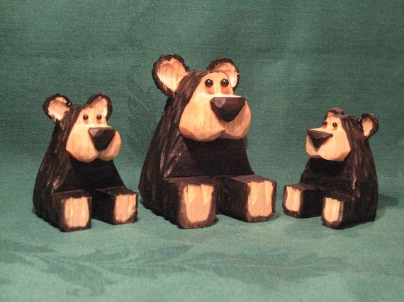 Hand Carved, Wood, Bear Family, Wood Carving, Valentine's Day Gift