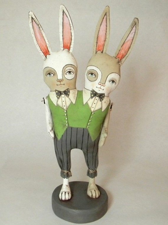 Conjoined Bunny Rabbit Twins-- Contemporary Folk Art Doll-- Made to order within a week