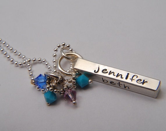 Sterling FAMILY Bar ..Hand Stamped Charm Necklace Personalized