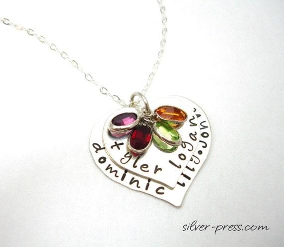 FREE Shipping .... FAMILY STORY  Two Hearts Necklace ... Sterling Silver Mommy Pendant Personalized  by silverpress ... Free Shipping