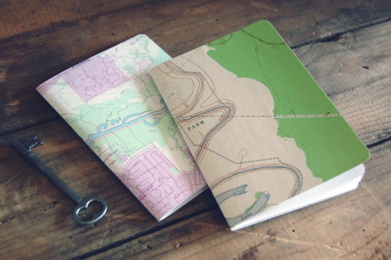 Woodland Topography Recycled Map Notebook - Random Selection