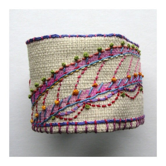 Hand Embroidered Recycled Organic Cuff