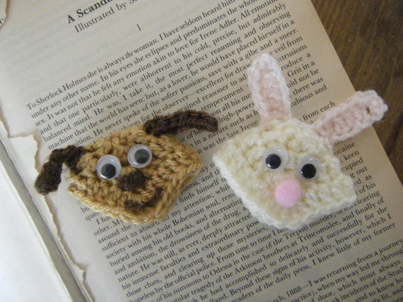 Bunny & Doggie Crochet Corner Bookmark Pattern PDF