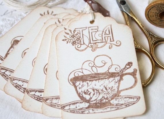 Teacup Gift Tags Shabby Chic Cottage Style Tags