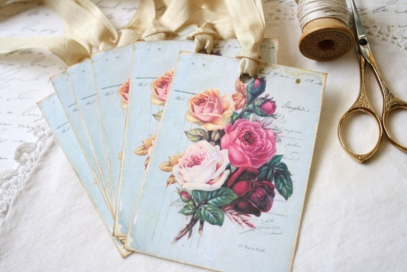 Gift Tags Shabby Chic Roses on Vintage Blue