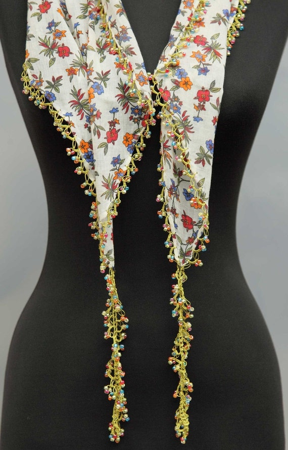 yazma - from Turkey - scarf framed with bead-work on all sides - FREE SHIPMENT - 034-05