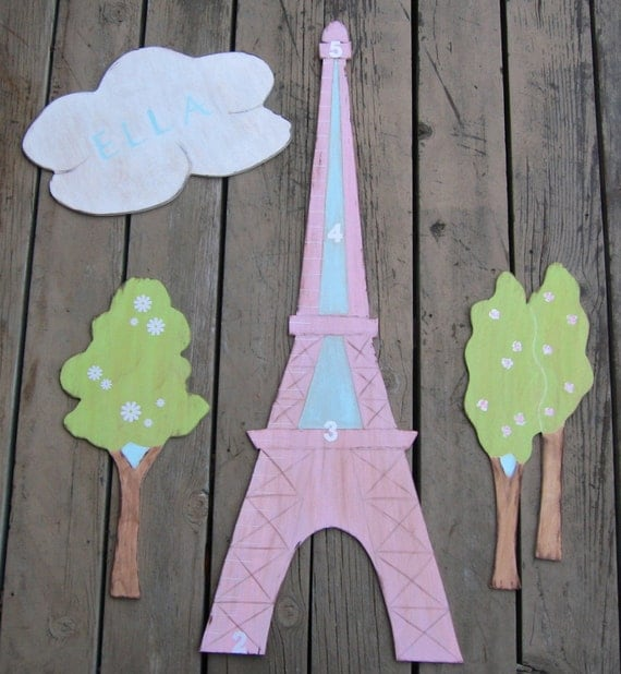 Eiffel Tower - Growth Chart - Personalized Cloud - Eco Friendly - Wood