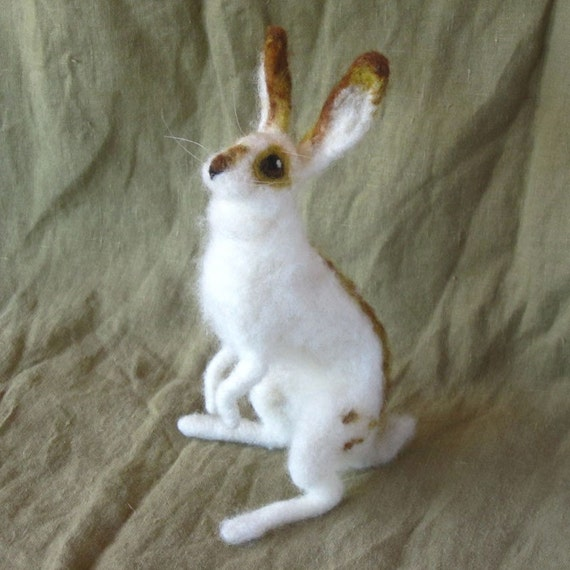 Bunny rabbit, needle felted, poseable wool doll