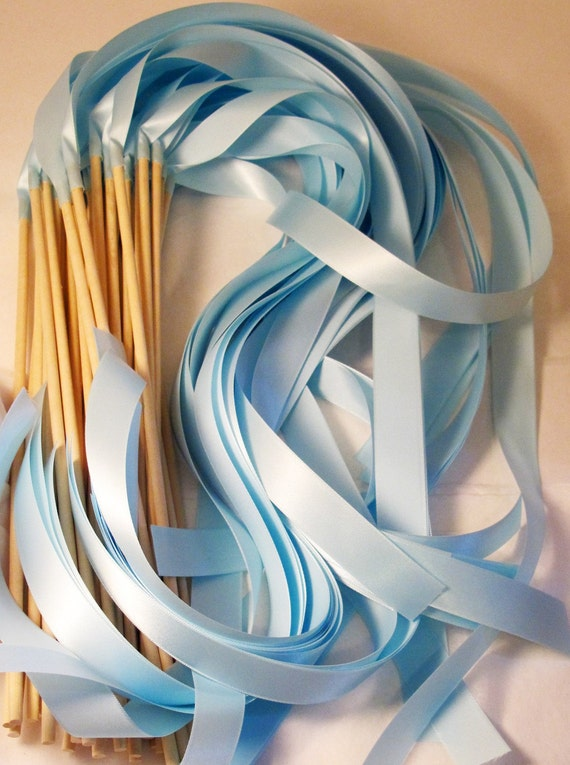 Satin Wedding Ribbon Wands - Custom Colors - Pack of 100 - Shown in Light Blue Cinderella Wedding