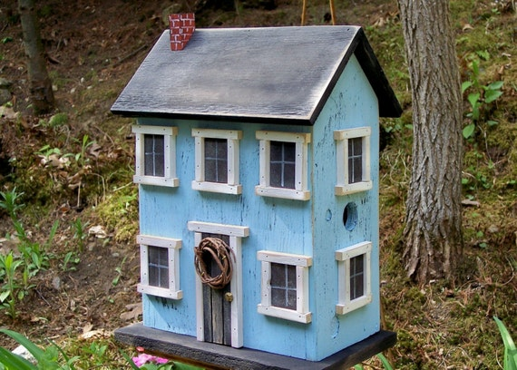 Birdhouse Folk Art Rustic Country Primitive Saltbox Home Decor Garden Folk Art
