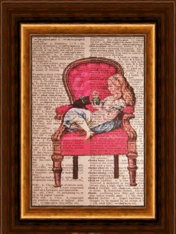 Alice in Wonderland and cat on Red Chair----Vintage Dictionary Art Print---Fits 8x10 Mat or Frame
