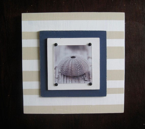 Tan White and Navy 14x14 Picture Frame for 5x5 Photo