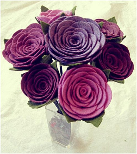 Shades of Violet felt bouquet