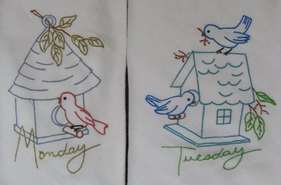 7 Vintage Print Liquid Embroidered Birdhouse Flour Sack Dishtowels