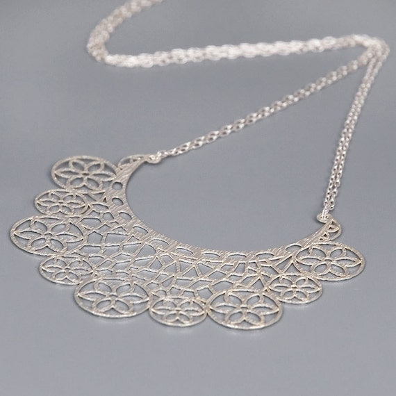 Sterling Silver Lace Necklace - Princes Necklace