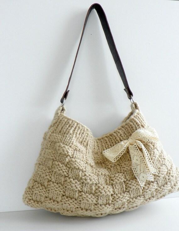 NzLbags Новые Нейтральный - Экрю-крем Вязание сумка, сумка - сумка, кожаный ремешок Nr-0180