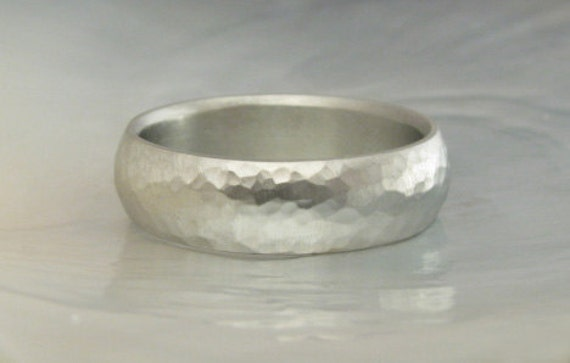 14k gold ring -- 6mm half round hammered dome band, comfort fit, satin finish