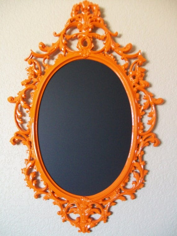 Any Color or Orange-Tres Chic 'RaRe' '2 in 1' Baroque Ornate Vintage Frame Wall Mirror & Chalkboard-Magnetic Chalk Board-Wedding-Reception