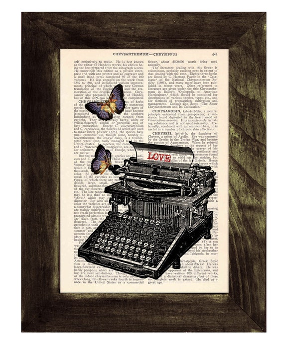 Upcycled Dictionary Page Upcycled Book Art Upcycled Print Upcycled Book Print Vintage Art Lovers typewritter with butterflies customizable