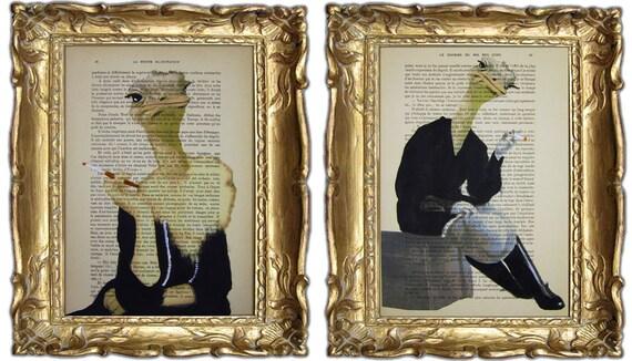 """Jetset страуса - оригинальные произведения искусства Mixed Media, Ручная роспись по 1920 известный журнал Parisien 'La Petit Иллюстрация """"Коко де Пари"""