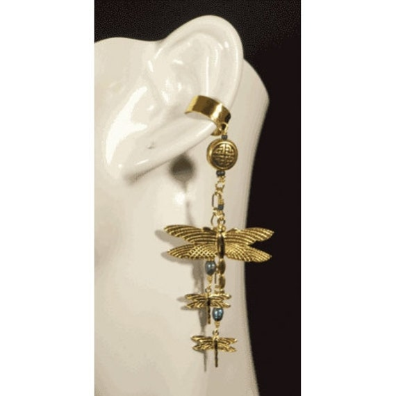 Dragonfly Family earcuff and earring set