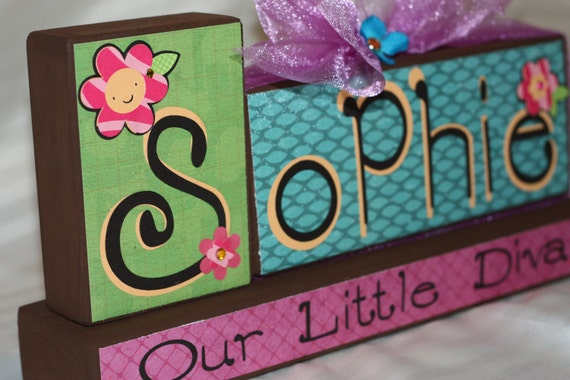 Custom Wooden Block Set  with Base - Sophie