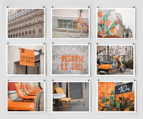 Paris Photography Collection, Orange - French Fine Art Photograph Art Prints - Paris Decor - Large Wall Art - Orange Home Decor