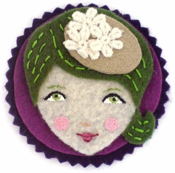 Felt applique, patch, magnet, embellishment, olive. violet