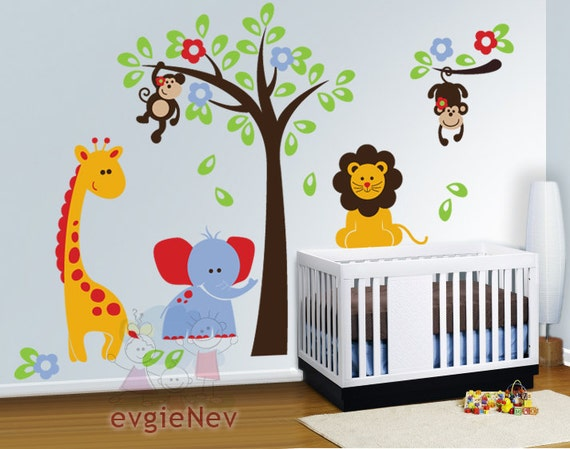 Kids stickers - safari: lion, monkeys, giraffe and elephant - vinyl