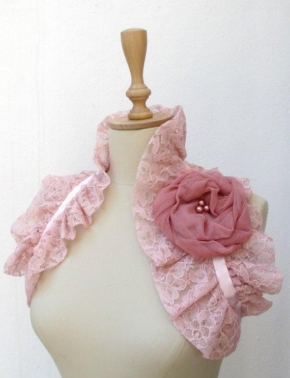 Dusty Pink Lace  Shoulder Wrap Bridal Bridesmaids Ruffle Bolero Wedding Shrug