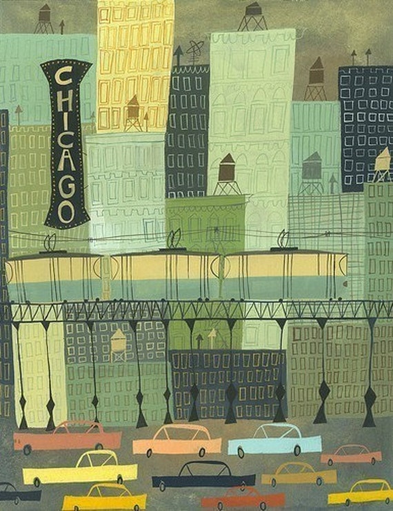 Chicago.  Limited edition 13x19 print by Matte Stephens.