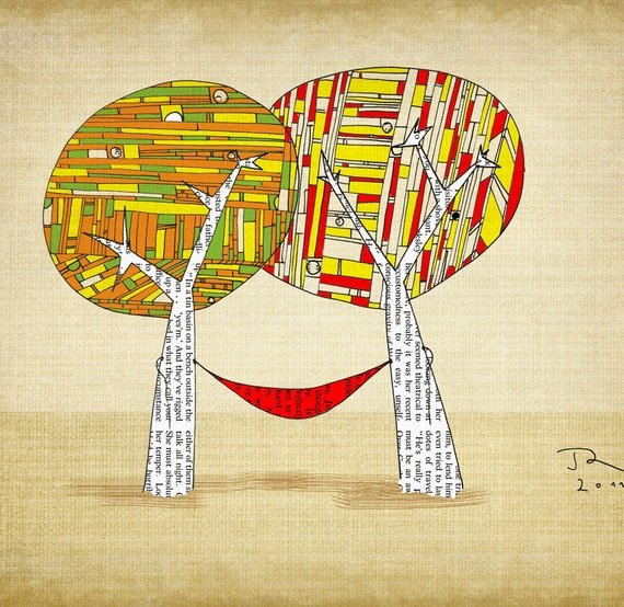 Hippie tree hammock smiling sun Giclee Art Print Limited edition 12''x16'' (A3)by Juri Romanov Orange Optimist