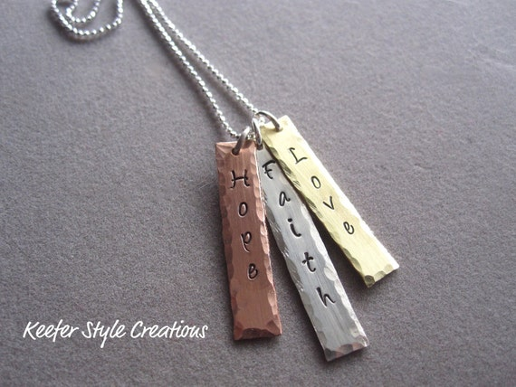 Hand stamped Mixed Metal Necklace with Love,Faith,Hope