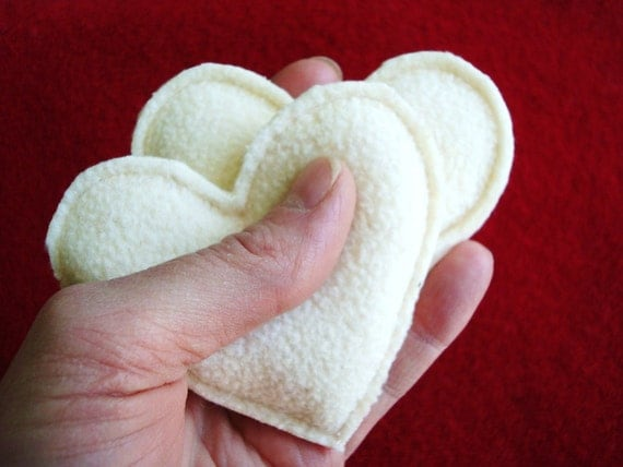 Pocket Hand Warmers Fleece VANILLA CREAM Hearts Eco Friendly One Pair