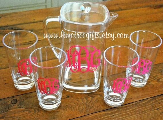 ACRYLIC Monogram Gift Set - 4 Glasses & Pitcher
