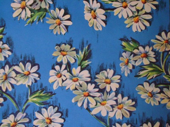 Vintage Gift Wrap Floral All Occasion Wrapping Paper--Two 1960s Prints--Daisies and Cosmos